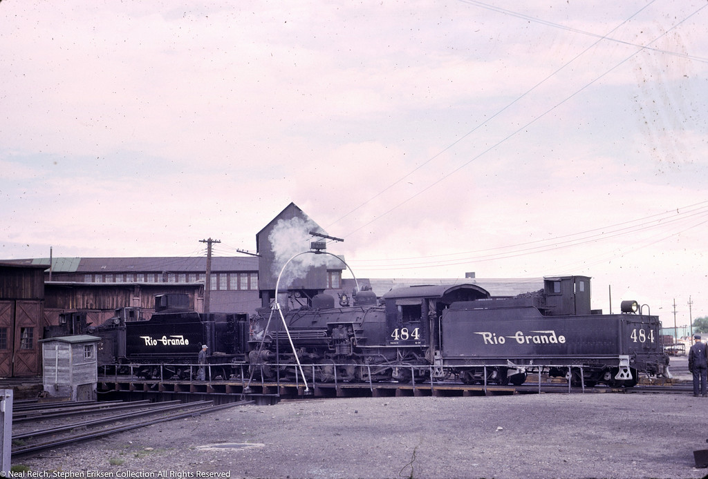 June 20, 1967 K-36 #484 on turntable in Alamosa, CO