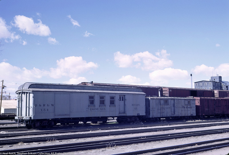 May, 1967 Engine Men X54 and Section Men car for Rotary OY in Alamosa, CO