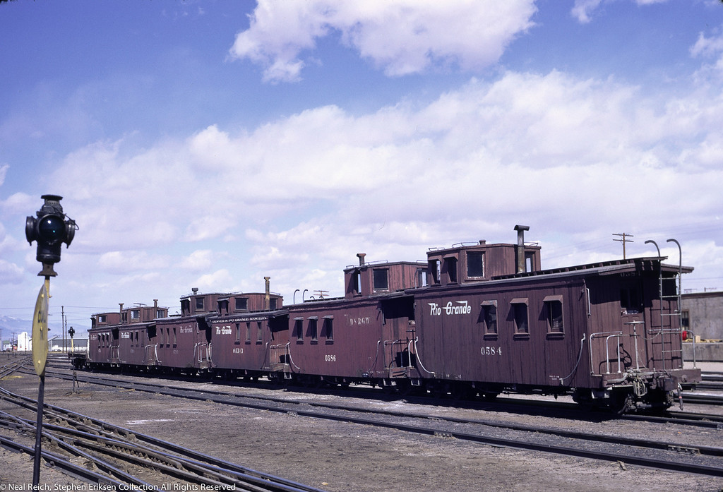 May, 1967 Six cabooses in line in Alamosa, CO