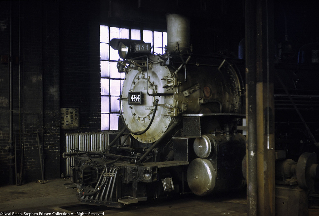 August 9, 1969 K-36 #484 in Alamosa roundhouse