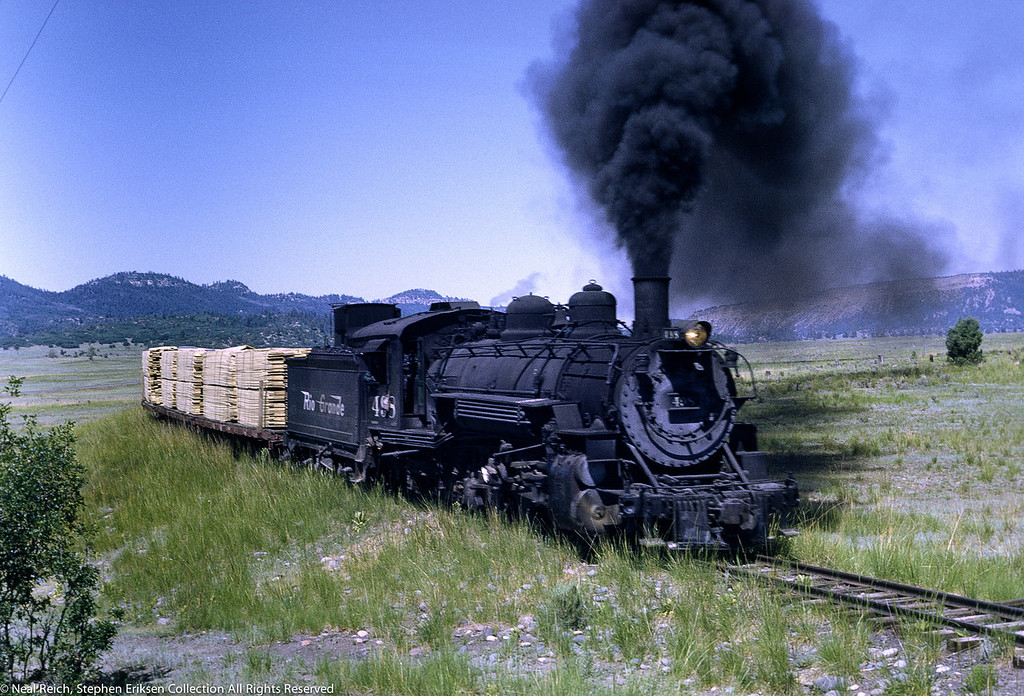 #498 pulls freight train on July 18, 1968 at Continental Divide, NM.