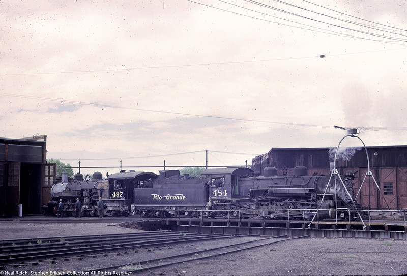 June 20, 1967 K-36 #464 pulls K-37 #497 out of the Alamosa, CO roundhouse