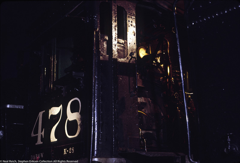 June 6, 1968 shot of K-28 #478 in the roundhouse at Durango, CO