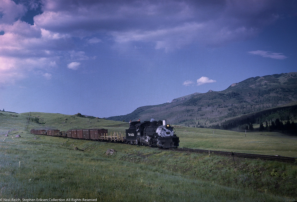 #493 with freight train near Lobo Lodge, NM on July 17, 1968.