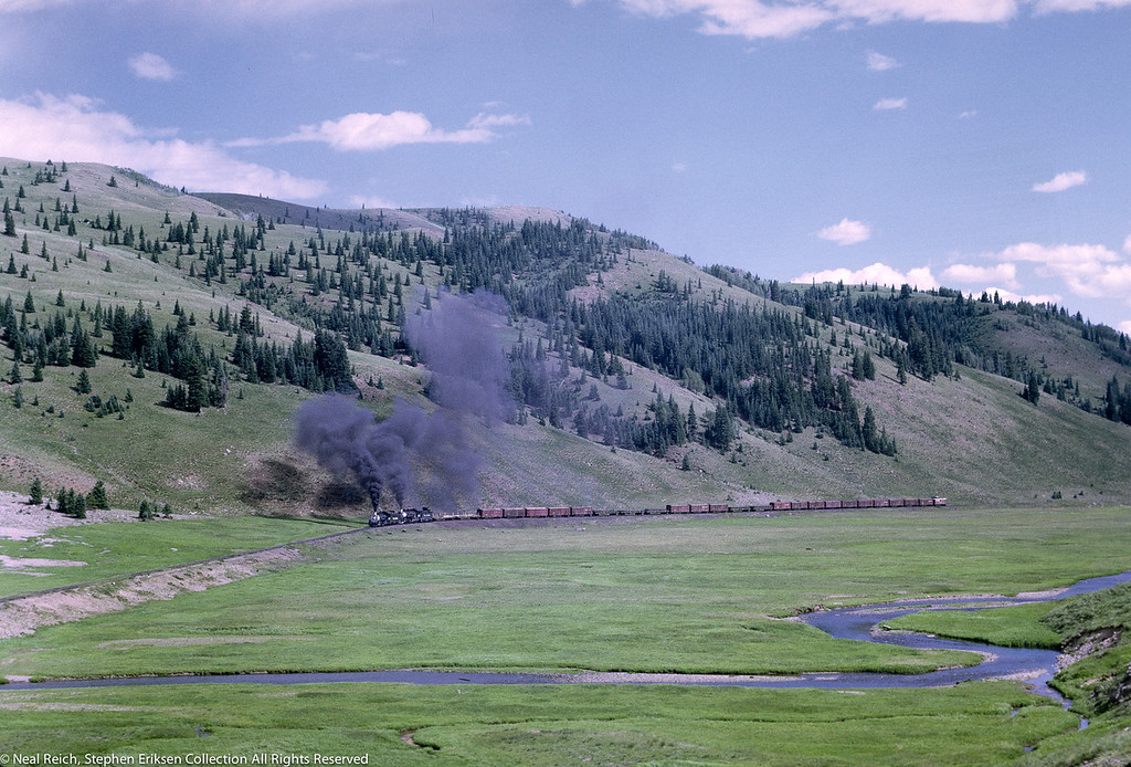 Double headed freight train in Los Pinos, CO., July 17, 1968.