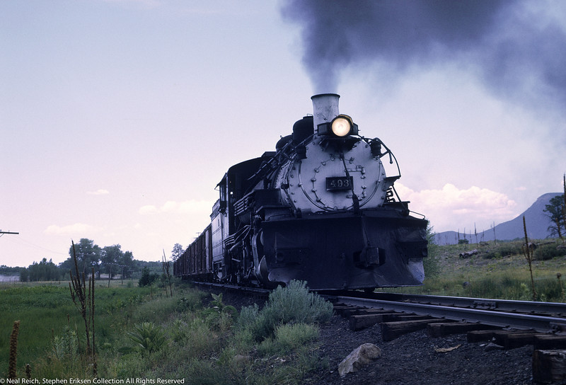 Grey view of #493 leaving Chama, NM on 1st turn, July 18, 1968.