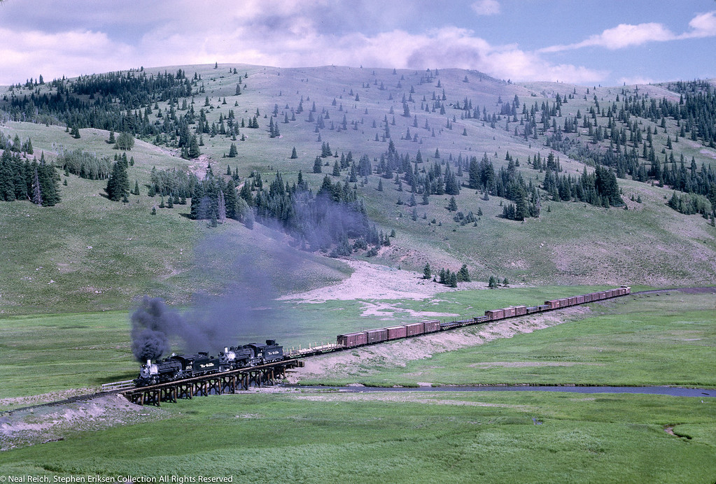 #483 and #493 crossing the trestle in Los Pinos, CO. on July 17, 1968.