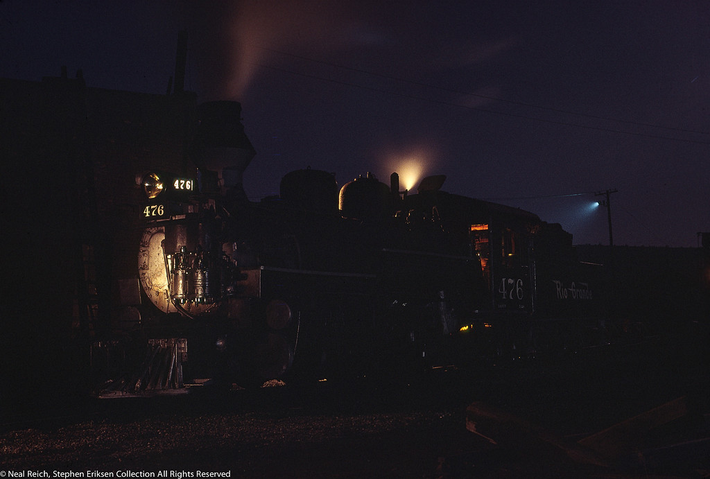June 6, 1968 Evening shot of K-28 #476 in Durango, CO