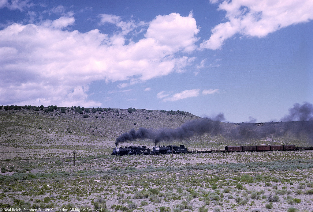 Double header with #483 an #493 west of Antonito, CO. near Lava, NM on July 17, 1968.