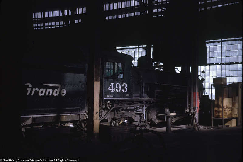 April, 1968 K-37 #493 in Alamosa, CO roundhouse