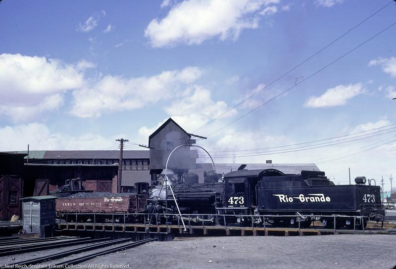 May, 1967 K-28 #473 and Drop Bottom Gon #899 on turntable at Alamosa, CO