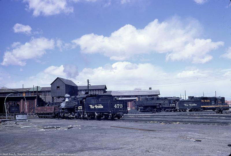 May, 1967 K-28 #473 and K-37 #498 alongside D&RGW diesel in Alamosa, CO