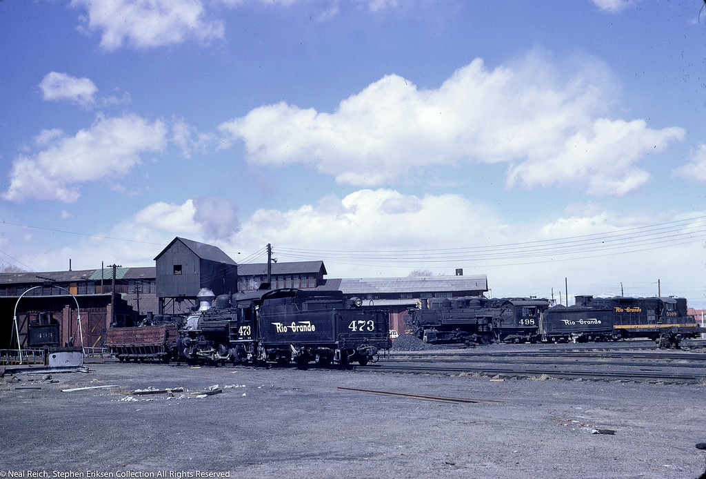 May, 1967 K-28 #473 and K-37 #498 alongside D&RGW diesel in Alamosa, CO