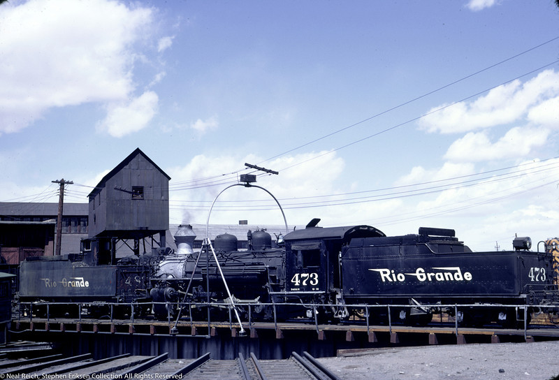 May, 1967 K-28 #473 and K-36 tender on turntable at Alamosa, CO