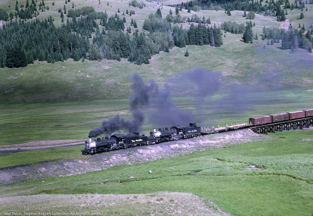 Closer view of #483 and #493 in Los Pinos, CO. on July 17, 1968.
