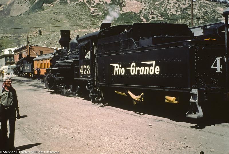 In this view from September of 1976, K-28 #473 pulls alongside another section of the Silverton in the train's namesake town.
