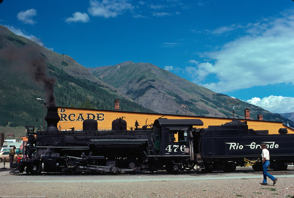 August 8th, 1974 and K-28 #476 rests in Silverton in a scene often repeated since the 1950's.