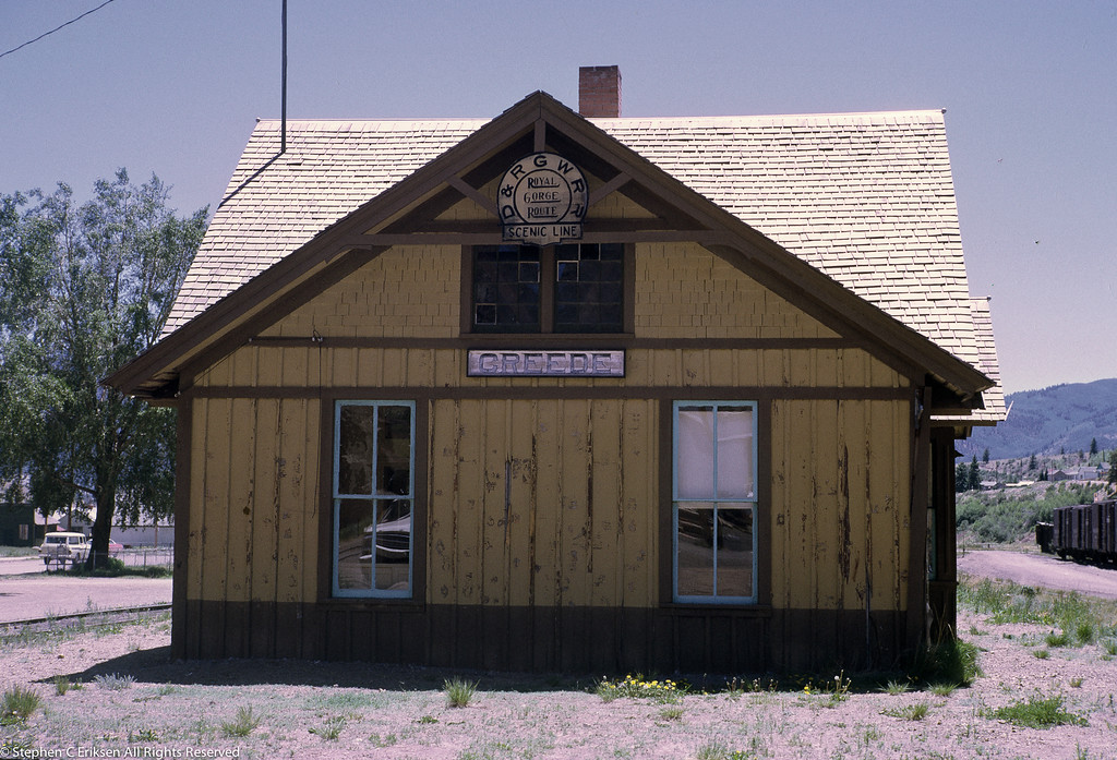 End view of the Creede, Colorado depot in July 1970.  The station still has the iconic D&RGW logo in place!