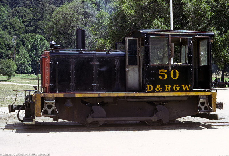 D&RGW #50 at Felton, CA on August 29, 1974.