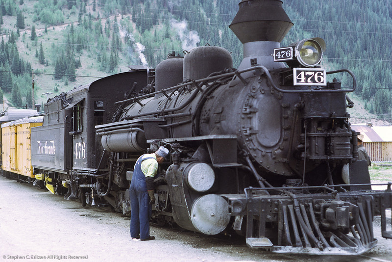 K-28 #476 receives attention in Silverton in this classic view from July of 1972.