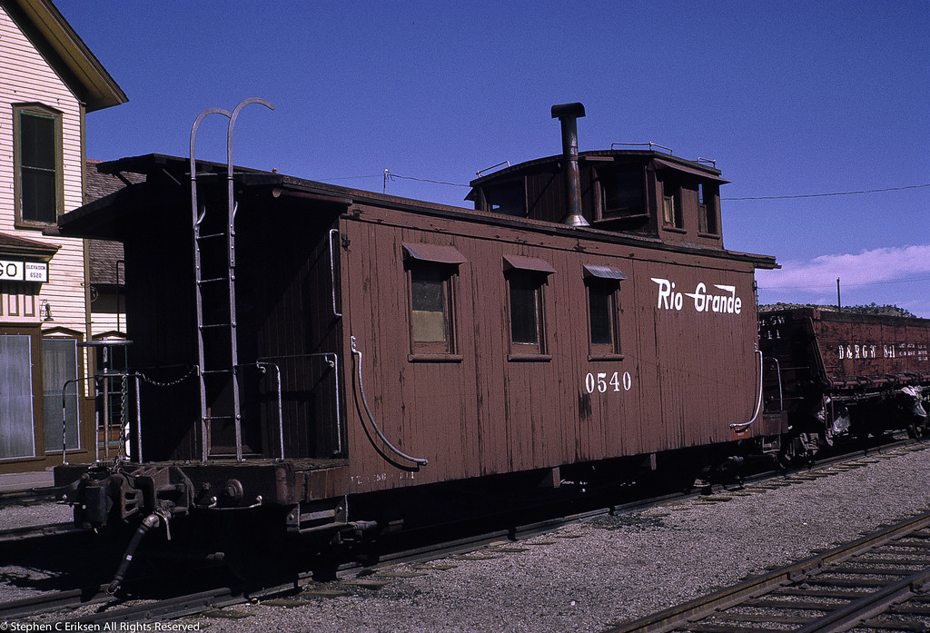 Perhaps the caboose most familiar to visitors to Durango, 0540 basks in the sun in July 1970.