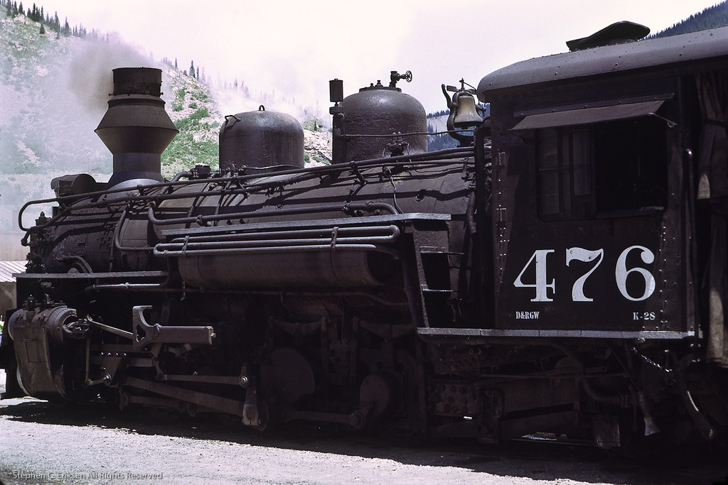 K-28 #476 pauses in Silverton in this view from July of 1972