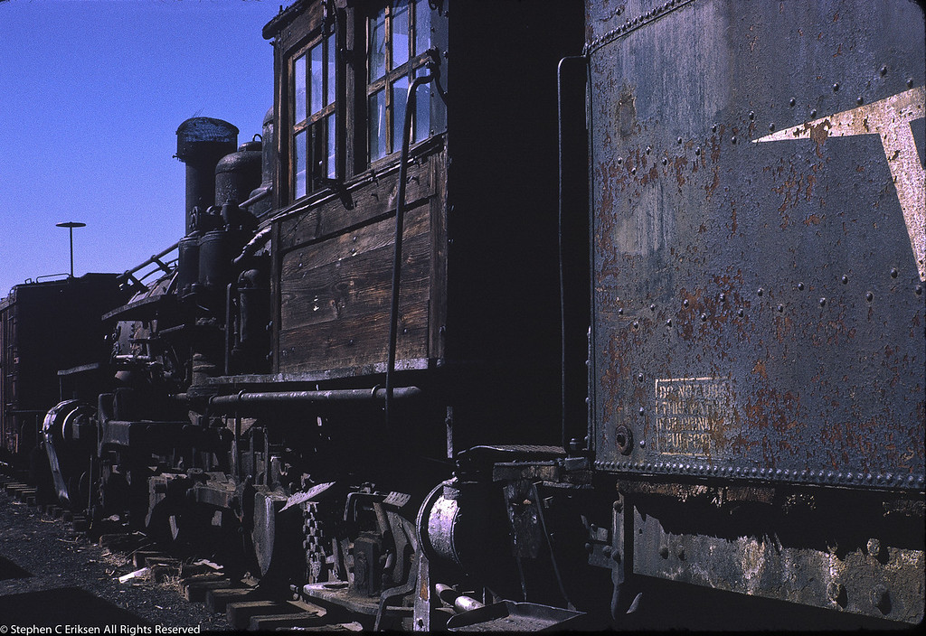 Mudhen #464 looks a bit sad in this July 1970 view in Durango. Who knew then that this locomotive would steam again but in Michigan!