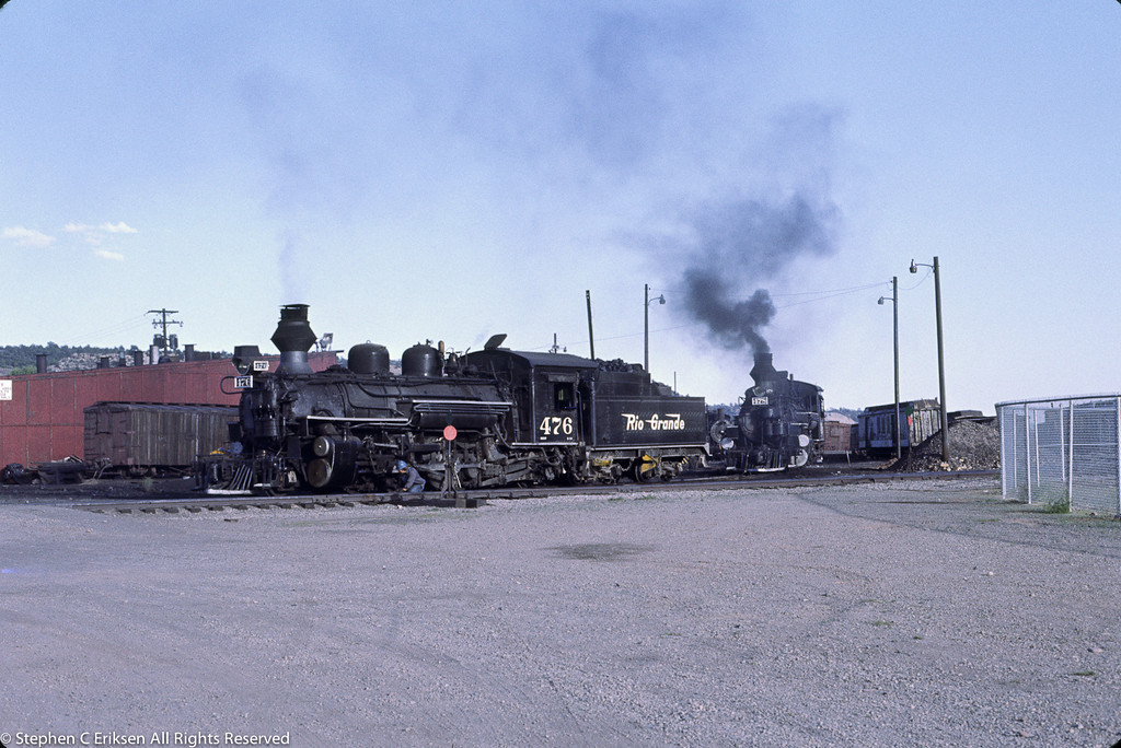 It is July 1980 and K-28's #476 and #478 still sport their Rio Grande logos in the last season of Rio Grande's ownership of the line.