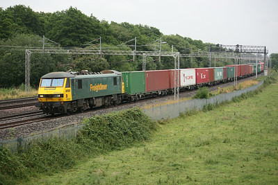90046 heads north of Norton Bridge with a Felixstowe - Crewe Basford Hall 19/7/14