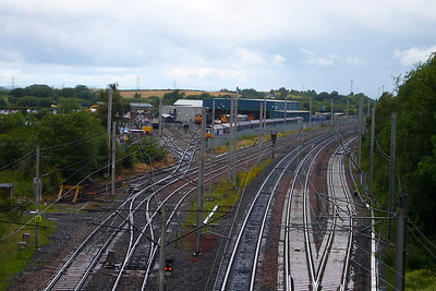 The view of Direct Rail Services' Carlisle Kingmoor TMD from Etterby Road across the West Coast Main Line.