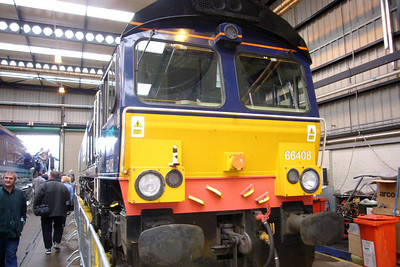 66408 in the shed - this loco is now 66843, in traffic with Colas Rail, possibly transferring to GBRf later in 2011.