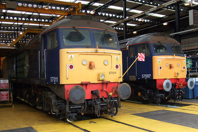 57011 and 57007 undergoing exams at Kingmoor, 11/07/09.