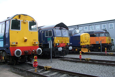 Line-up outside the shed of 20311, 66431, 37229 and 47739, 11/07/09.