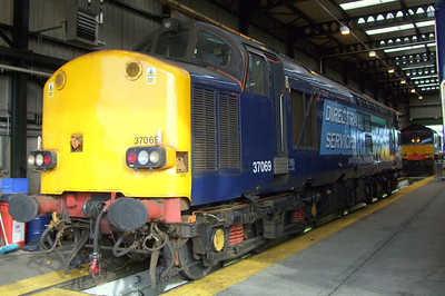 37069 sits silent in the maintenance shed at Carlisle Kingmoor TMD, 11/07/09.