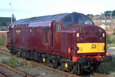37516 sits in York Parcels Sidings as the thunderbird for West Coast's Scarborough Spa Express charter trains.
