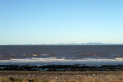 The view across the Solway Firth to Galloway, with the Robin Rigg windfarm visible. 30/11/09.