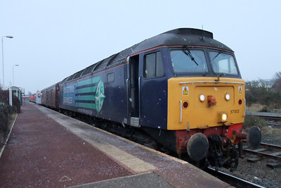 57003 at Maryport in a snow flurry, 03/02/10.