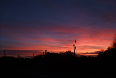 Sunset over the Oldside windfarm, 27/01/10.