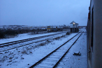 A snowy Maryport station early in the morning, 06/01/10.