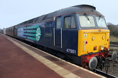 47501 sits in the platform at Maryport, 18/01/10.
