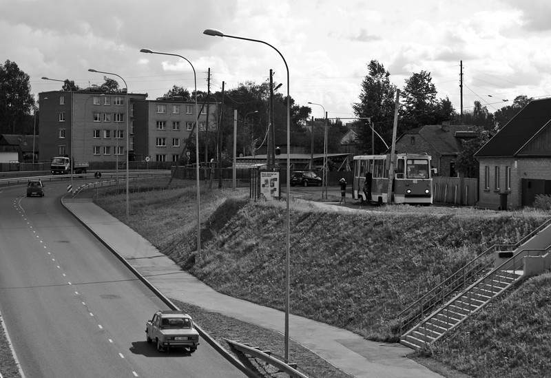 Tramcar 105 at the terminus of Route Two close to the largest marshaling yard complex