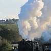 Bagnall 0-6-0 saddle tank blasts out of Dilhorne Colliery on October 21st during the 2012 Foxfield Steam Gala.