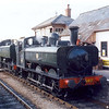 GWR pannier tanks Nos:6412 and 9644 roll into Blue Anchor station on 15th September during the 2001 Autumn Steam Gala