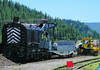 Rail crane and other maintenance of way equipment at UP's small Truckee yard.