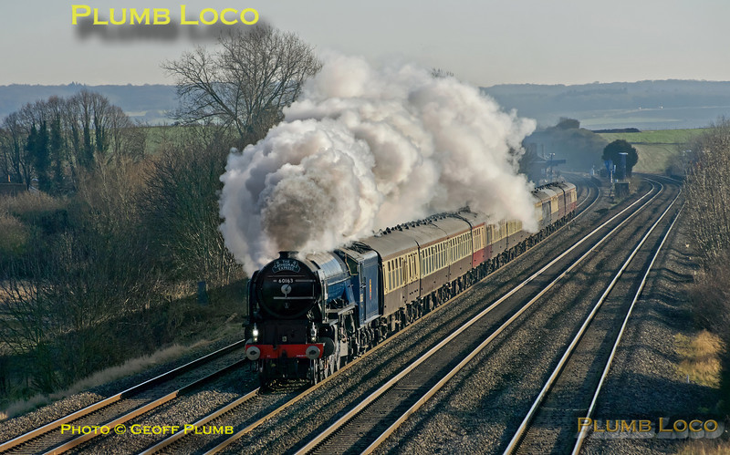 "LNER A1 class 4-6-2 No. 60163 ""Tornado"" has just passed Cholsey station and is approaching the bridge at Manor Farm on the down relief line with 1Z72, ""The Cathedrals Express"", 09:24 from Southend Central to Oxford. 13:06, Saturday 8th December 2012. Digital Image No. GMPI13201."