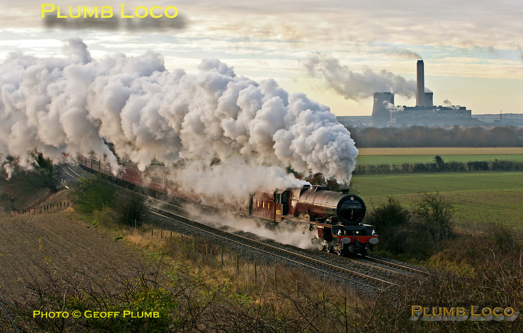 """After stopping at Didcot Parkway station, 6201 """"Princess Elizabeth"""" is roaring back into her stride as the train approaches Culham at 09:43 on Saturday 1st December 2012. This was 1Z71, """"The  Worcester Anniversary Christmas Fayre"""", 08:05 from Paddington to Worcester and return. Digital Image No. GMPI13016."""