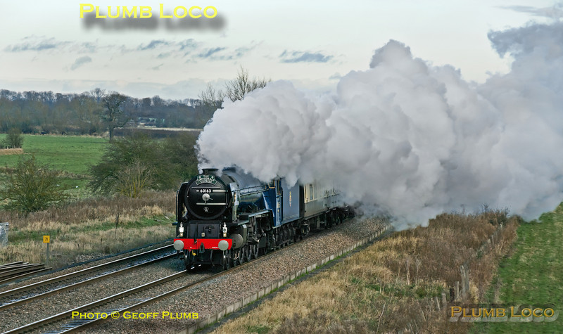 "LNER A1 4-6-2 No. 60163 ""Tornado"" is seen once again at Shrivenham in its new blue livery, but still evading the sun... Much of the wait was in beautiful light but then the cloud came over and it was obvious the smoke would blow down. It looked like the sun might reappear, so I stuck with this side of the train, but sadly the sun still refused to play. The train is 1Z31, ""The Cathedrals Express"", 07:22 from Ipswich to Bristol, 13:01, Saturday 1st December 2012. Digital Image No. GMPI13045."
