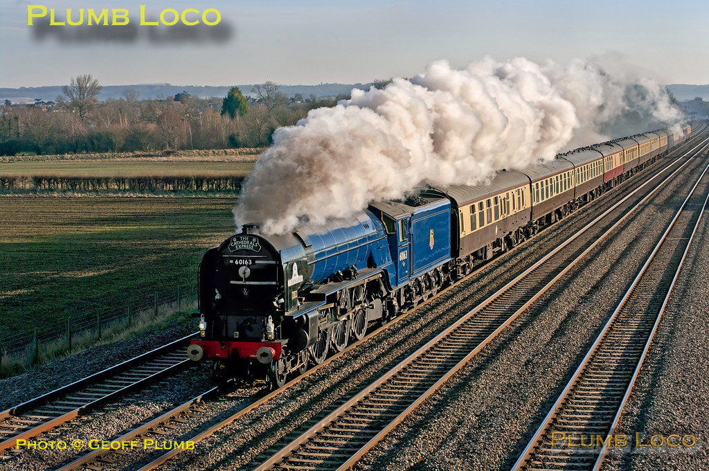 """LNER A1 class 4-6-2 No. 60163 """"Tornado"""" has just passed Cholsey station and is approaching the bridge at Manor Farm on the down relief line with 1Z72, """"The Cathedrals Express"""", 09:24 from Southend Central to Oxford. 13:06, Saturday 8th December 2012. At last - a picture of """"Tornado"""" in blue livery in sunshine! Digital Image No. GMPI13208."""