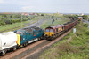 With the Drivers Exchanging Freindly Waves,55022 Waits at Freemans Crossing for 66113 To Come off The Branch With The 15.15 North Blyth-Hunterston Loaded Coal on Fri,13-5-2011.