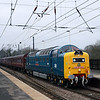55022 seen on 1Z26 the 08.18hrs Kings cross to Edinburgh freshly painted in york livery at Morpeth<br /> 5/3/2011
